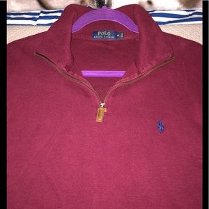 Polo Partial Zip Front Ribbed Sweater